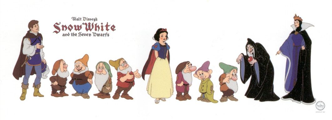 Production-drawing of Snow White, from the sequence where she greets ...